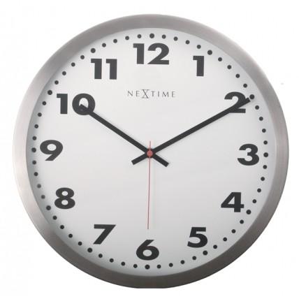 Ceas de perete, D-26 cm, cifre arabe, sticla, NeXtime - Arabic, argintiu