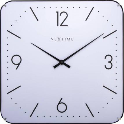 """Ceas de perete, 35x35 cm, cifre arabe, sticla convexa, NeXtime - """"Basic Square Dome"""", alb"""